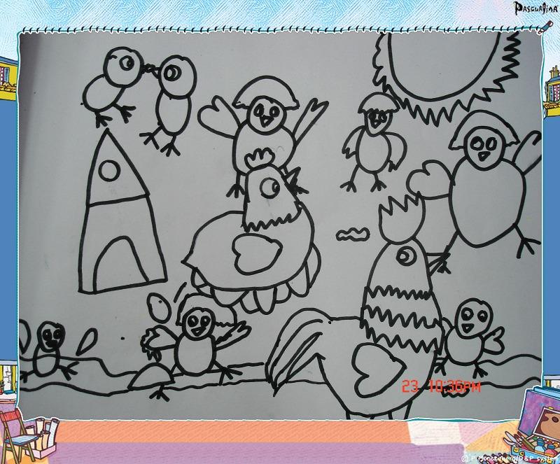 鸡简笔画彩色一年级