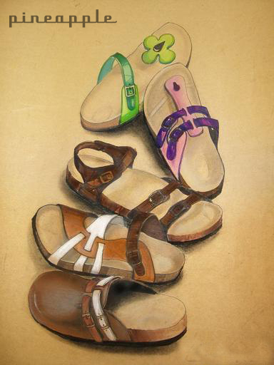 《鞋子》效果图/2005/马克笔,色粉,牛皮纸