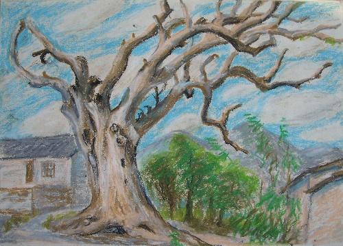 用油画棒画的风景速写-赏雨茅屋独自在-我的搜狐