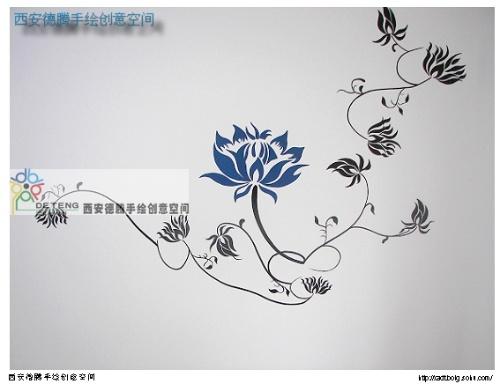 西安手绘墙之田园都市---蓝莲花-西安德腾手绘墙创意