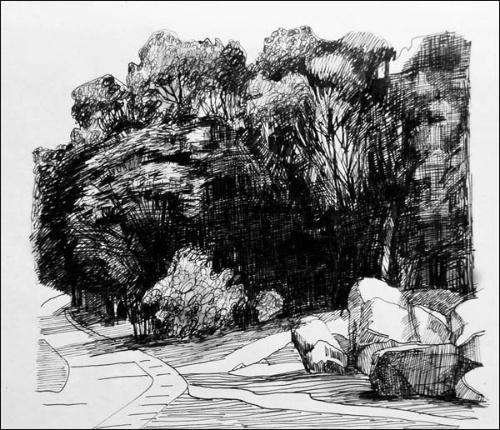 石头滩 (钢笔速写)
