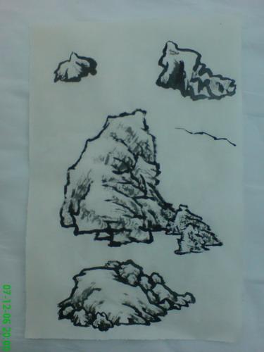 石头雕塑 手绘线稿