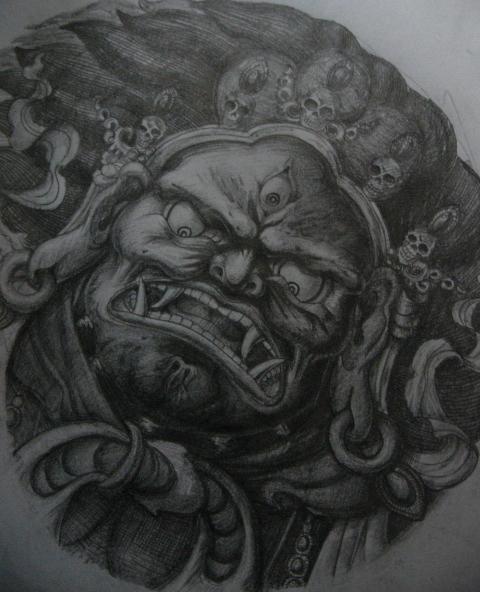 前几天画的纹身手稿(大威德马头明王)
