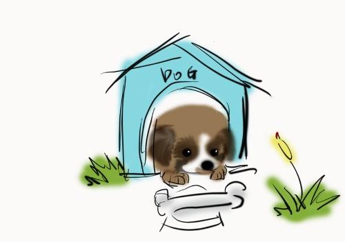 小狗开门矢量图