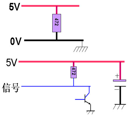 电源线的电流也比较大,所以这类线相对来说都时粗线