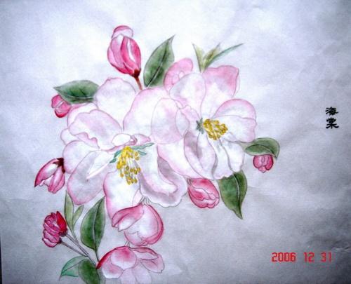 桃花彩色铅笔画
