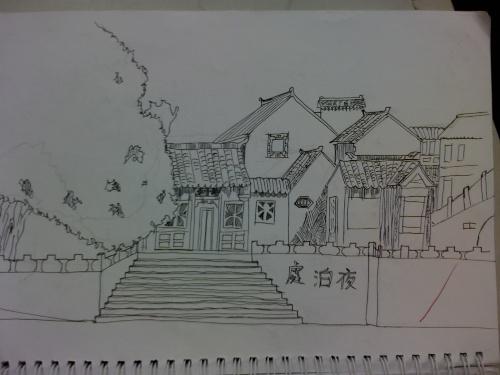 山塘街手绘速写