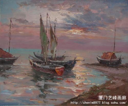 海边风景系列布面油画 规格:50x60cm 时间:2008.3
